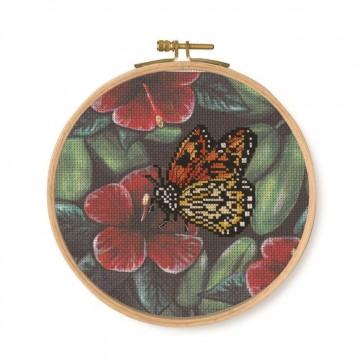 DMC Printed Cross Stitch Kit - Tropical Birds & Butterflies - Orange Butterfly