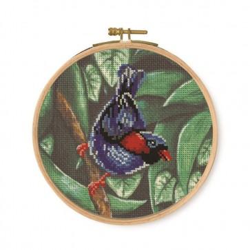 DMC Printed Cross Stitch Kit - Tropical Birds & Butterflies - Parokeet