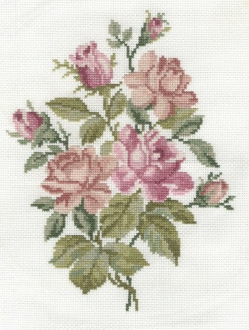 DMC Counted Cross Stitch Kit - Pink Roses Bouquet