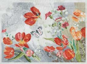 DMC Cross Stitch Kit - Florals - Life In Red