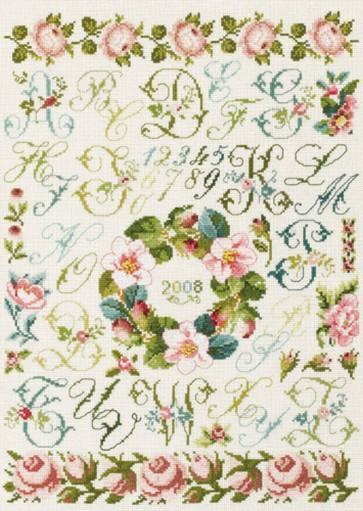 DMC Cross Stitch Kit - Floral Samplers - Rose Wreath Sampler