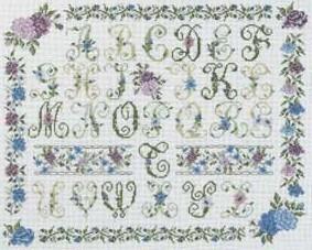 DMC Cross Stitch Kit - Floral Samplers - Violet Flowers Sampler