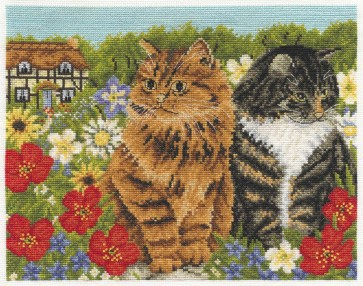 DMC Cross Stitch Kit - Cats - Two Cats And A Cottage
