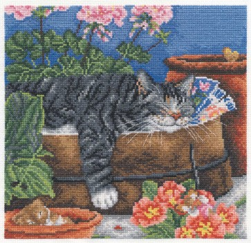DMC Cross Stitch Kit - Cats - Cat In A Potting Shed