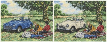 DMC Cross Stitch Kit - Trains, Cars and Boats - Morris Minor Picnic