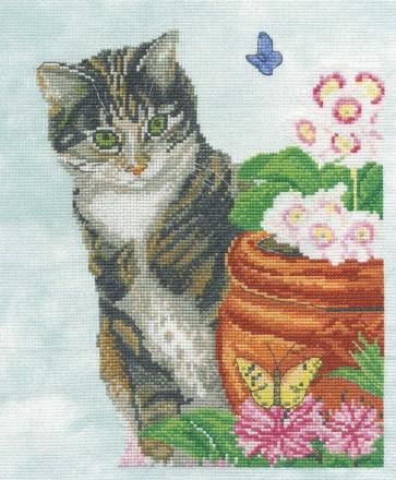 DMC Cross Stitch Kit - Cats - Cat & Butterfly