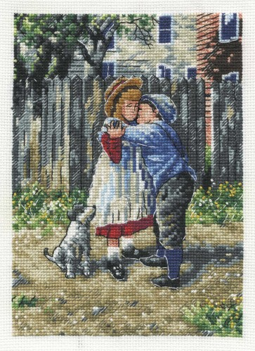 DMC Cross Stitch Kit - Nostalgia - Stealing A Kiss