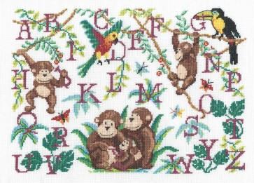 DMC Cross Stitch Kit - Childrens - Monkey Sampler