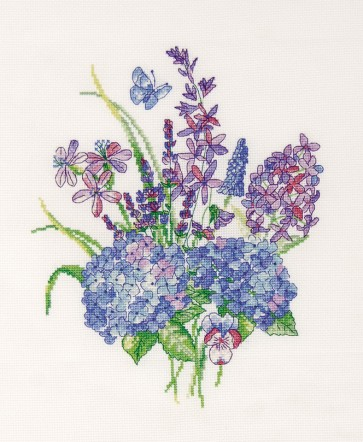DMC Cross Stitch Kit - Florals - The Blue Bouquet