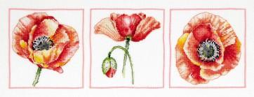 DMC Cross Stitch Kit - Florals - Poppy Trio Close-up