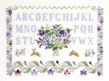 DMC Cross Stitch Kit - Floral Samplers - ABC With Flowers And Rabbits
