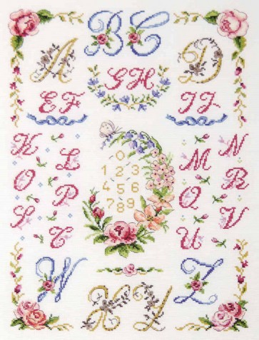 DMC Cross Stitch Kit - Floral Samplers - Floral Wreath And Festoons ABC
