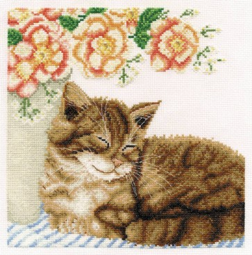 DMC Cross Stitch Kit - Anne Mortimer's Cats - Ginger With Roses