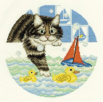 DMC Cross Stitch Kit - Anne Mortimer's Cats - Going For A Swim!