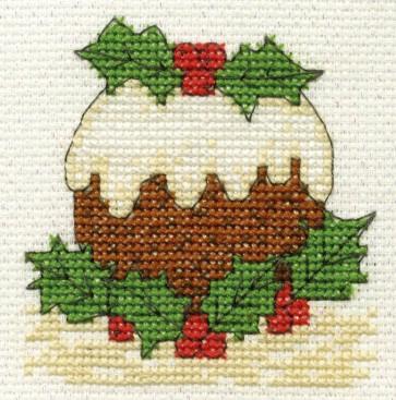 DMC Cross Stitch Kit - Mini Christmas Kit - Christmas Pudding