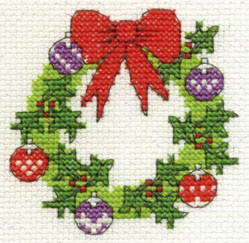 DMC Cross Stitch Kit - Mini Christmas Kit - Christmas Wreath