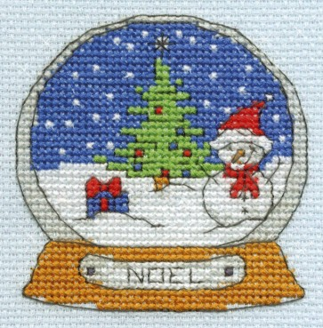 DMC Cross Stitch Kit - Mini Christmas Kit - Snowman Globe