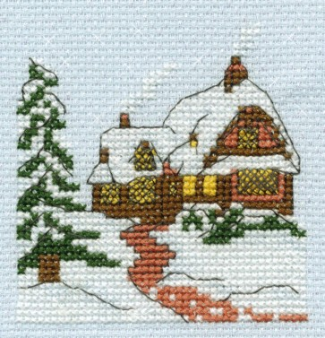 DMC Cross Stitch Kit - Mini Christmas Kit - Christmas Scene