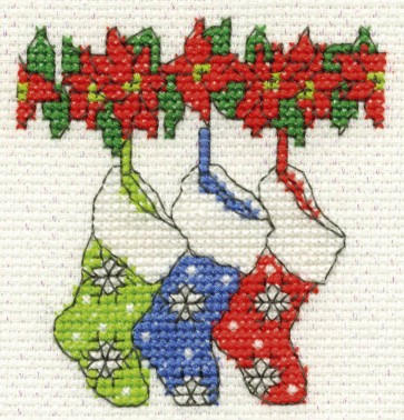DMC Cross Stitch Kit - Mini Christmas Kit - Stockings
