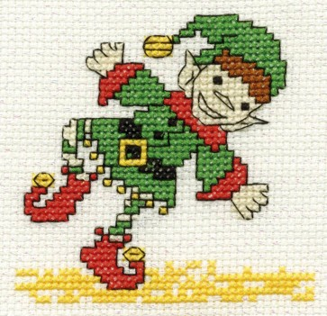 DMC Cross Stitch Kit - Mini Christmas Kit - Christmas Elf
