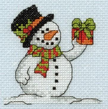 DMC Cross Stitch Kit - Mini Christmas Kit - Snowman