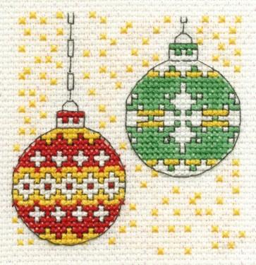DMC Cross Stitch Kit - Mini Christmas Kit - Christmas Baubles