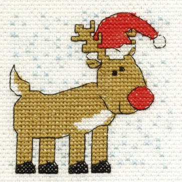 DMC Cross Stitch Kit - Mini Christmas Kit - Rudolf The Rednosed Reindeer