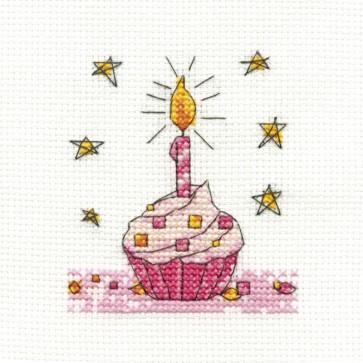 DMC Cross Stitch Kit - Mini Birthday Kit - Birthday Cupcake