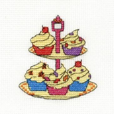 DMC Cross Stitch Kit - Mini Birthday Kit - Tier Of Cupcakes