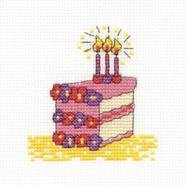 DMC Cross Stitch Kit - Mini Birthday Kit - Slice Of Cake