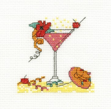 DMC Cross Stitch Kit - Mini Birthday Kit - Cocktail Glass