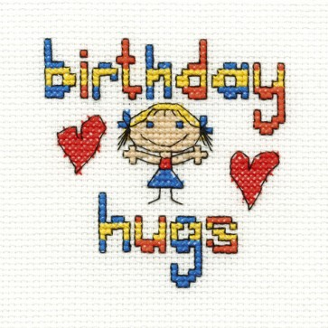 DMC Cross Stitch Kit - Mini Birthday Kit - Birthday Hugs Girl
