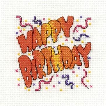 DMC Cross Stitch Kit - Mini Birthday Kit - Happy Birthday Party Time
