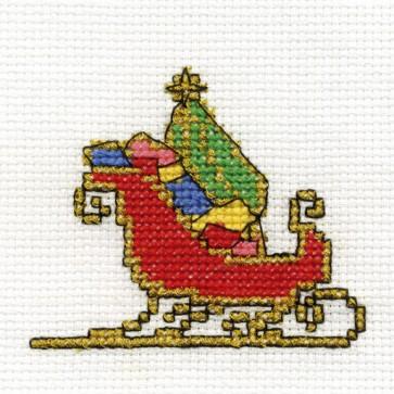 DMC Cross Stitch Kit - Mini Christmas Kit - Sleigh