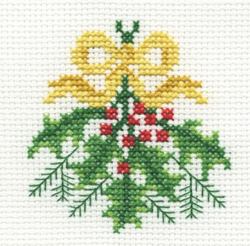 DMC Cross Stitch Kit - Christmas - Holly And Bows