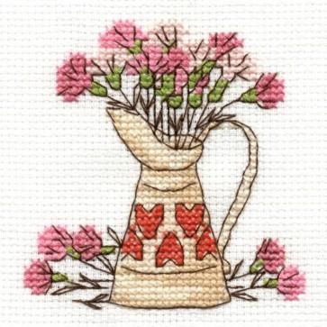DMC Cross Stitch Kit - Flowers - Carnations