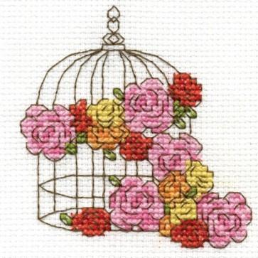 DMC Cross Stitch Kit - Flowers - Floral Birdcage
