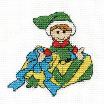 DMC Cross Stitch Kit - Elf - Mini Christmas Kit