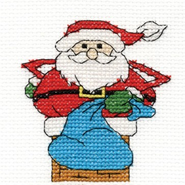 DMC Cross Stitch Kit - Santa - Mini Christmas Kit
