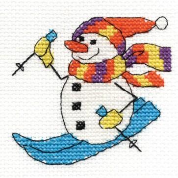 DMC Cross Stitch Kit - Snowman - Mini Christmas Kit