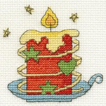 DMC Cross Stitch Kit - Mini Christmas Kit - Christmas Candle