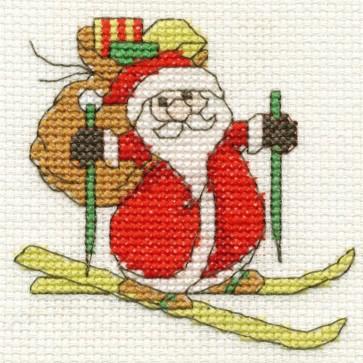 DMC Cross Stitch Kit - Mini Christmas Kit - Santa on Skis