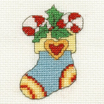 DMC Cross Stitch Kit - Mini Christmas Kit - Christmas Stocking