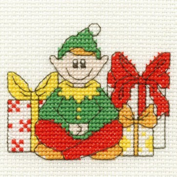 DMC Cross Stitch Kit - Mini Christmas Kit - Elf and Presents