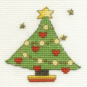 DMC Cross Stitch Kit - Mini Christmas Kit - Christmas Tree
