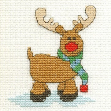 DMC Cross Stitch Kit - Mini Christmas Kit - Rudolf