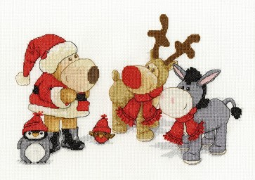 DMC Cross Stitch Kit - Boofle, Roofle, Rosy, Purly and Dinky at Christmas