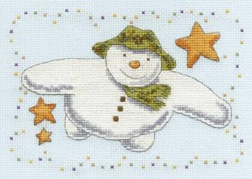 DMC Cross Stitch Kit - Christmas - The Snowman Flying With Stars