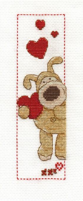 DMC Cross Stitch Kit - Boofle - Boofle Love Heart Bookmark