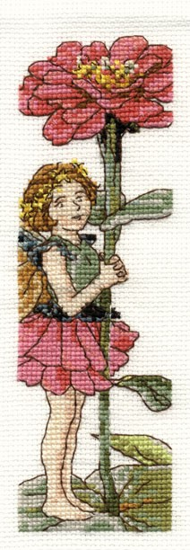 DMC Cross Stitch Kit - Flower Fairies - The Zinnia Fairy Bookmark